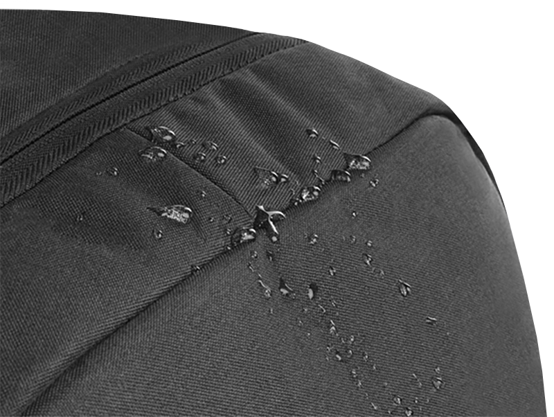 Drops of water on the top of an STM Goods backpack