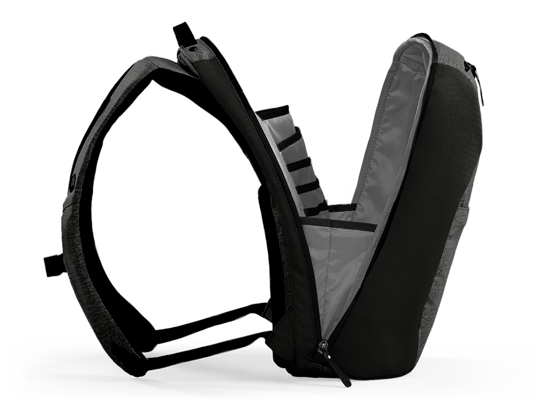 Myth 18L bag, open, viewed from side